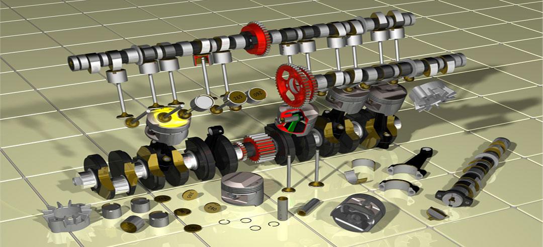 elementos clave del motor del coche
